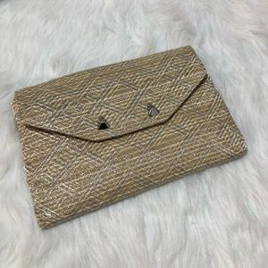Stella & Dot gold and tan studded clutch bag